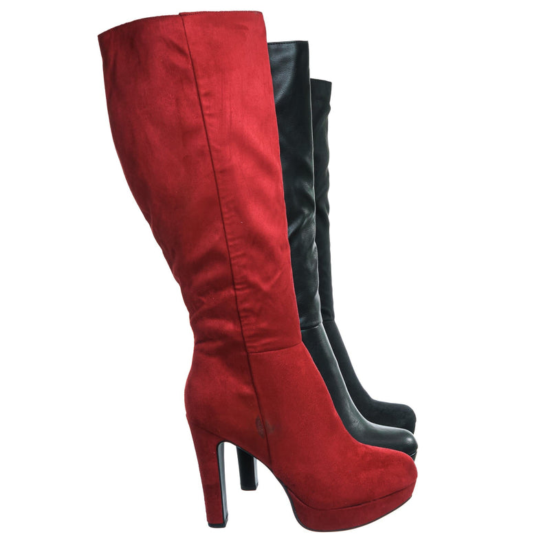 Rhythm Knee High Dress Boots - Women Thick High Over Knee Heel Platform