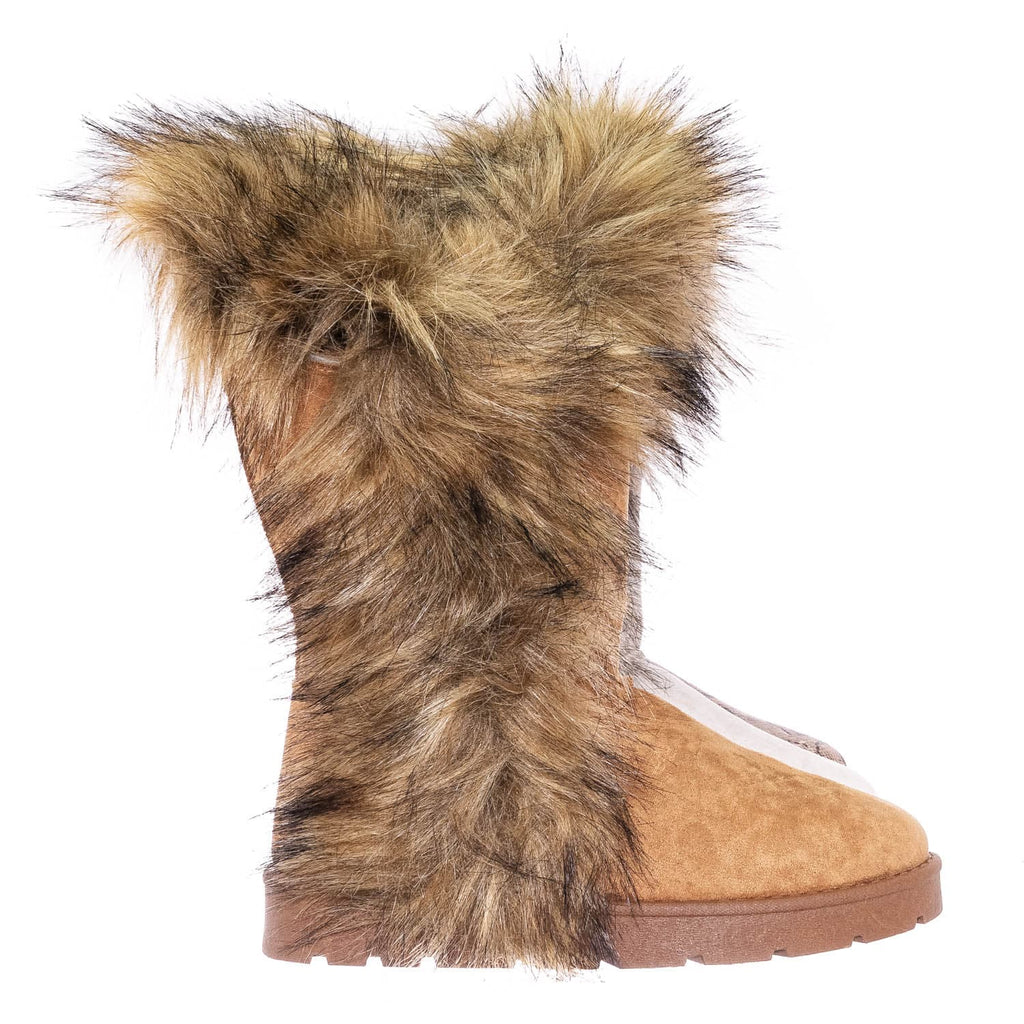 Black Fsuede / Frozen11 Asymmetrical Faux Fur Mukluk - Women Slanted Shearling Winter Cozy Boot
