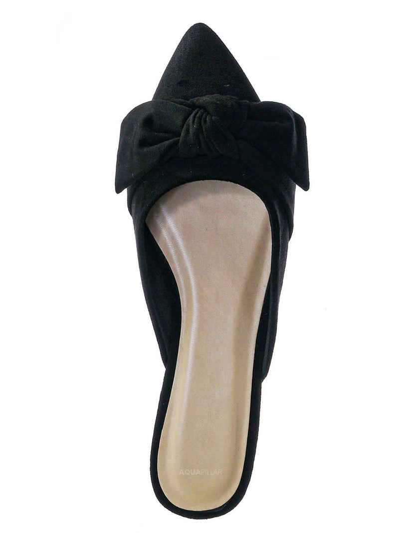 Black F-suede / Justify52 Bowtie Mule Loafer Flat Slides - Womens Pointed Toe Backless Slipper