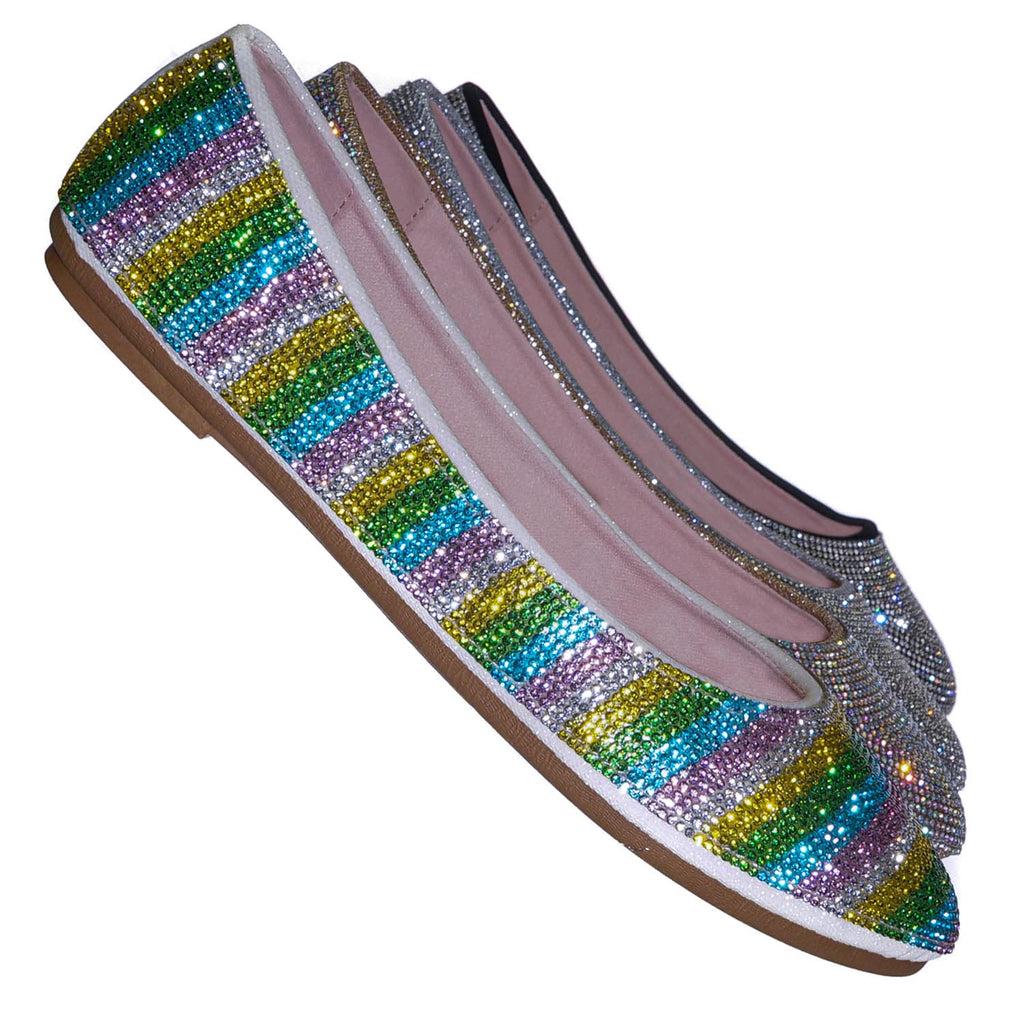 Rainbow / Larissa95 Rhinestone Crystal Embellished Ballet Flats - Round Toe Padded Shoes