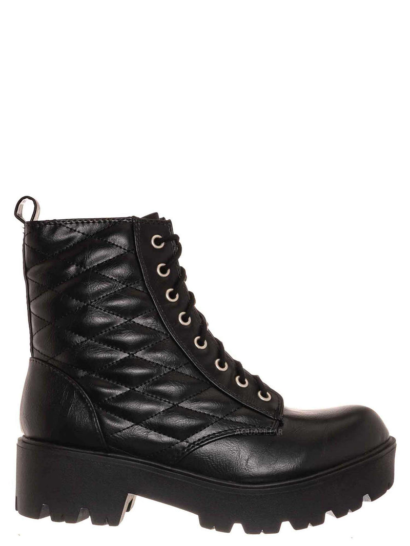 Black Pu / Dawson Diamond Quilted Block Heel Combat Boots