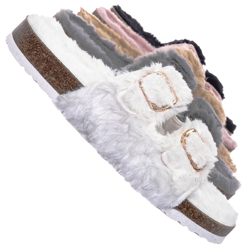 Ivory White / Defeat63 Faux Fur Molded Footbed Slipper - Furry Slide In Cork Slide Sandal