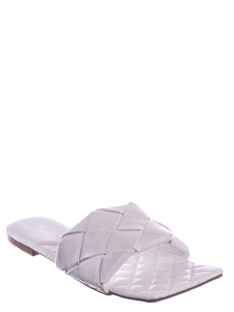 White / Padded18 Wide Woven Slide Sandal - Womens Elongated Open Square Toe Slipper Mule