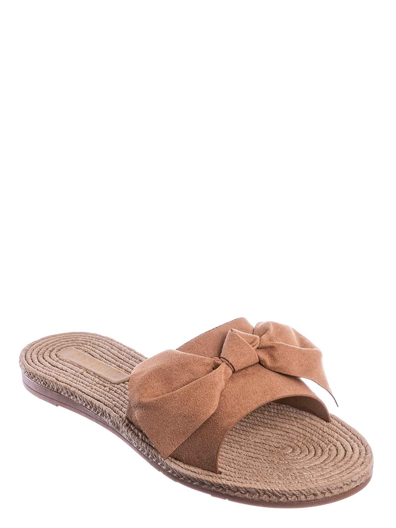 Camel Brown / Athena12 Espadrille Woven Knotted Bow Slides - Jute Rope Weaved Slip On Sandal