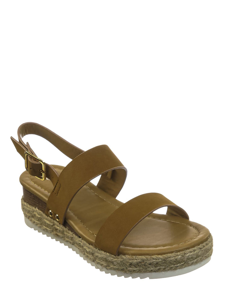 Tan Brown / Sensational2K Tan Brown Children Espadrille Flatform Sandal - Girl Kids Open Toe Platforms