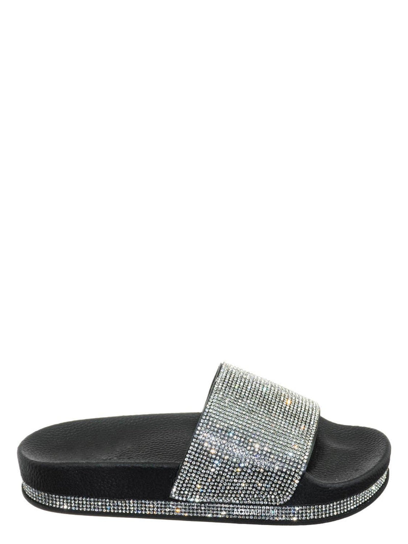 Black / Vision07 Rhinestone Jewel Slide - PVC Molded Footbed Flatform Sandal Slippers