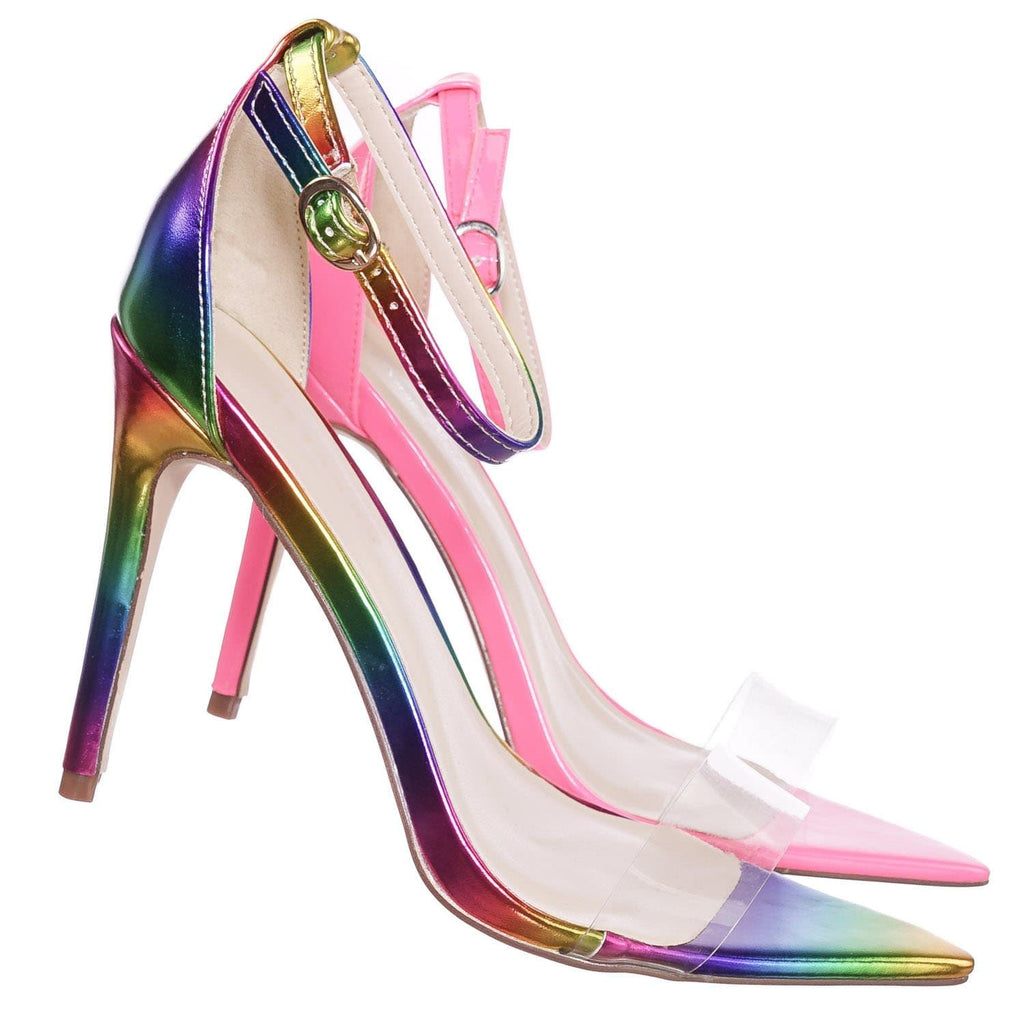 Rainbow / Exception10 Lucite Neon Stiletto Sandal - Women Clear High Heel Pointed Toe Shoe