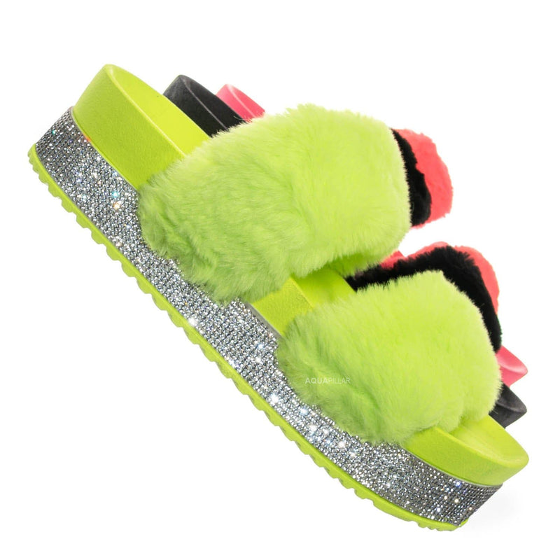 Nighttime03 Furry Rhinestone Flatform - Flat Platform Molded Footbed Slipper