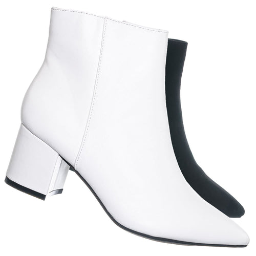 Rapid01 White Crp Pointed Toe Block Heel Dress Bootie - Women Chunky Heel Ankle Boots