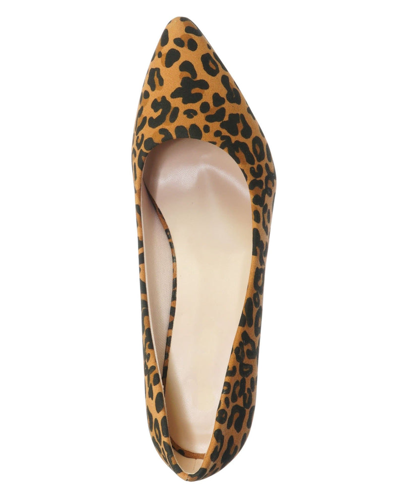 Leopard Brown / Sanzi2 Low Stiletto Heel Pumps - Slip On Dress Shoes Solid Or Animal Prints