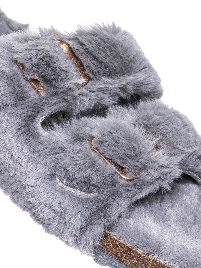 Gray / Defeat63 Faux Fur Molded Footbed Slipper - Furry Slide In Cork Slide Sandal