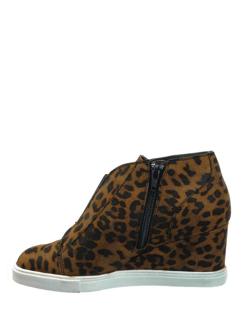 Vesper Tan Leopard Hidden Wedge Heel Sneakers - Women Sporty Elastic Shootie