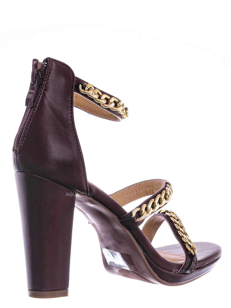 Brown / Choo28 High Heel Chain Sandal - Womens Block Heel Strappy Open Toe Shoes