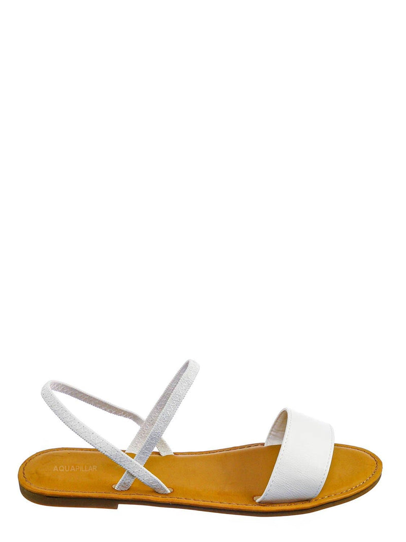 White Crp / Waterfront24 Summer Multi Strap Slingback Sandals - Womens Open Toe Elastic Shoe