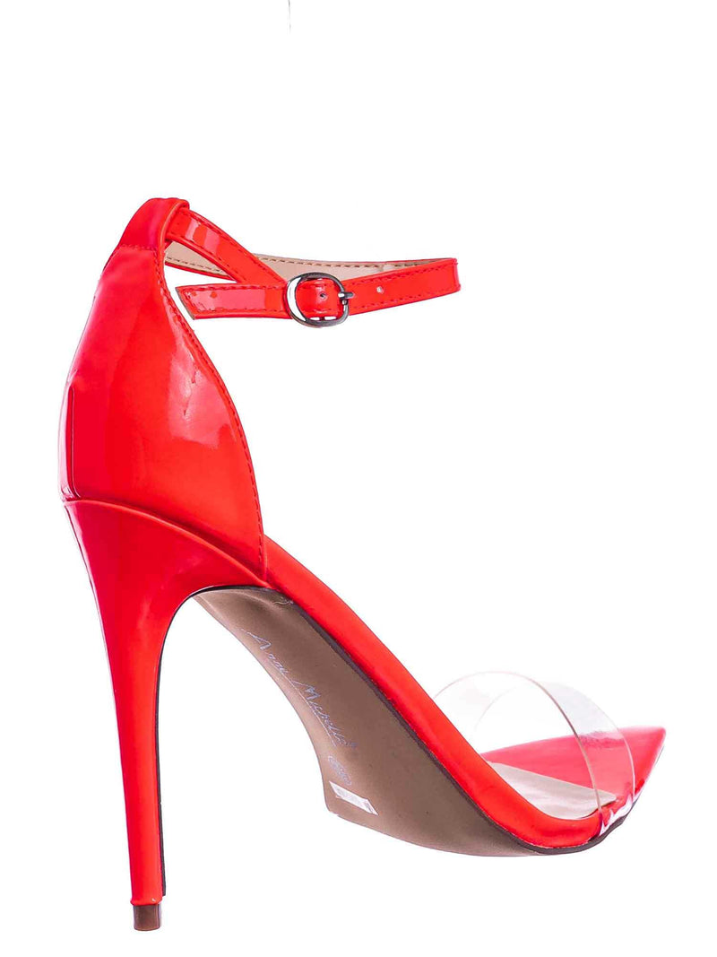 Neon Orange / Exception10 Lucite Neon Stiletto Sandal - Women Clear High Heel Pointed Toe Shoe