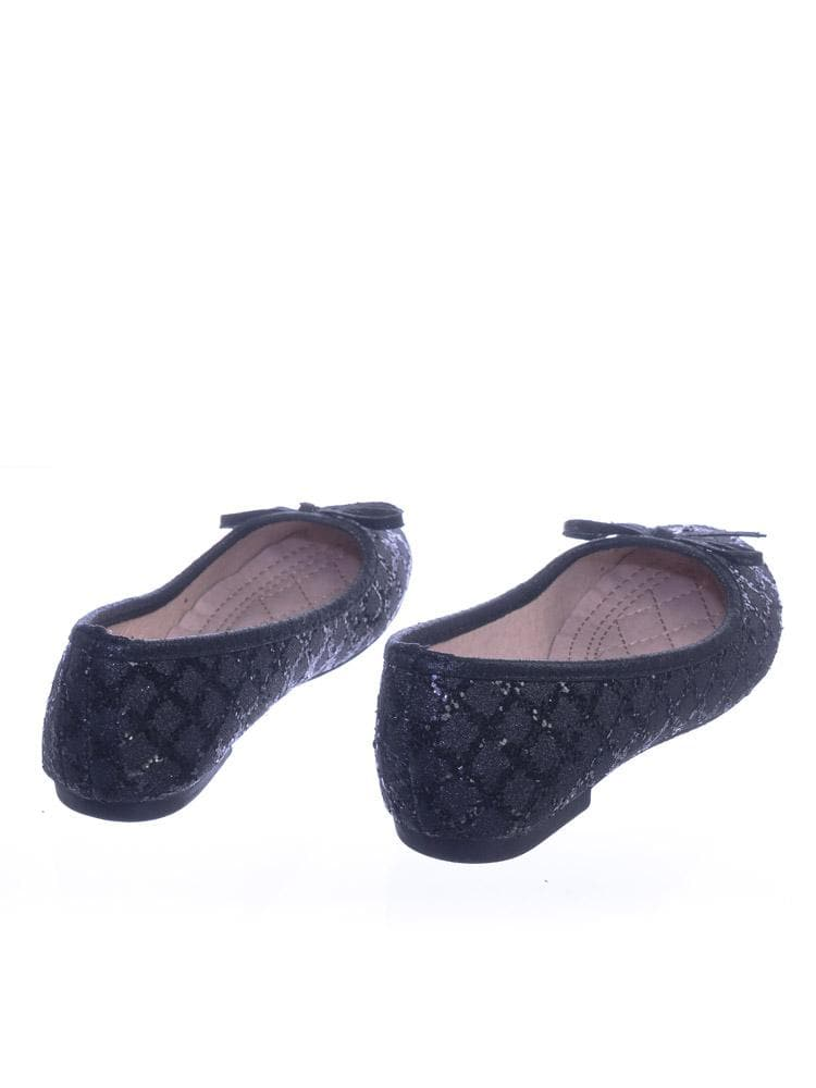 Karra46 All Black Children Girls Fancy Round Toe Ballet Flat w Criss Cross Glitter