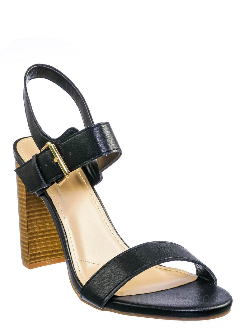 Black Pu / Morris318 Double Strap Chunky Block Heel Sandal  - Womens Open Toe Buckled Shoe