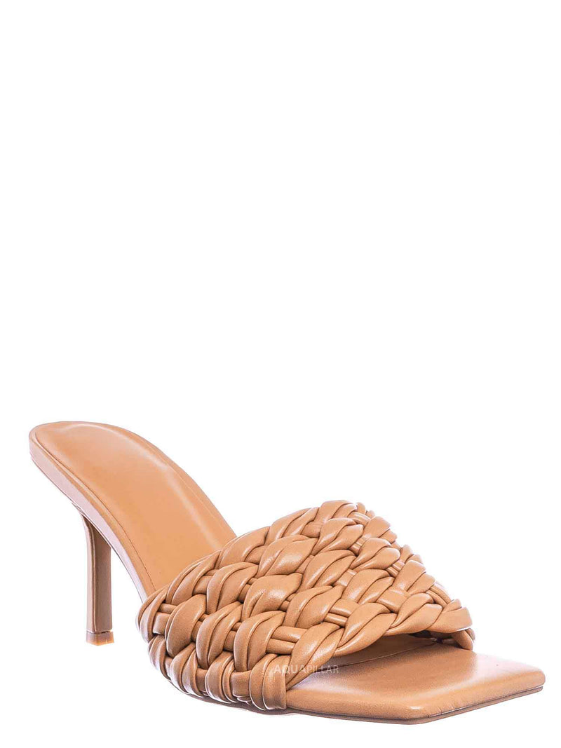 Natural Beige / Zeal08 High Heel Puffy Woven Mule - Women Stiletto Pillow Weave Sandal