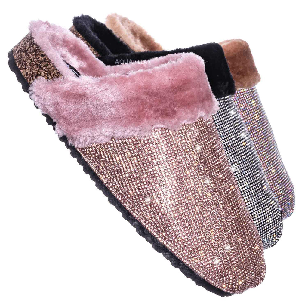Black Silver / Benefit13 Rhinestone Crystal Moccasin Furry Footbed Slipper