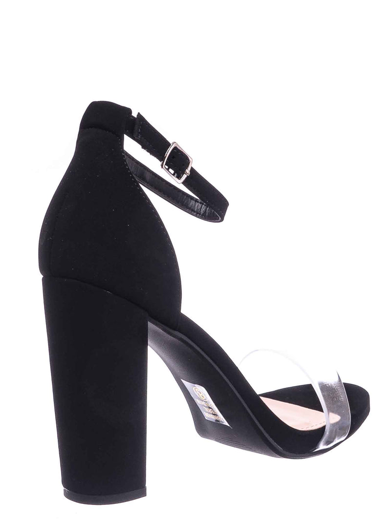 Black / Share Block Heel Lucite Sandal - Women Chunky Open Toe w Transparent Strap