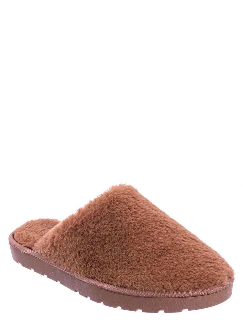 Camel Brown / Snuggle07 Furry Flatbed Slipper Mule - Mukluk Winter Slip On For Men & Women