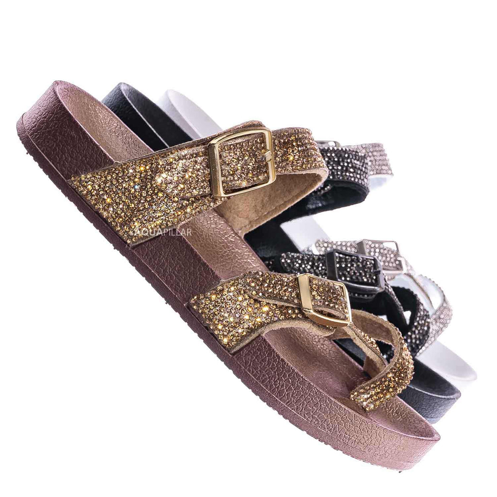 Hawk18K Little Girls Soft Footbed Rhinestone Sandal - Kid Molded Strappy Slipper