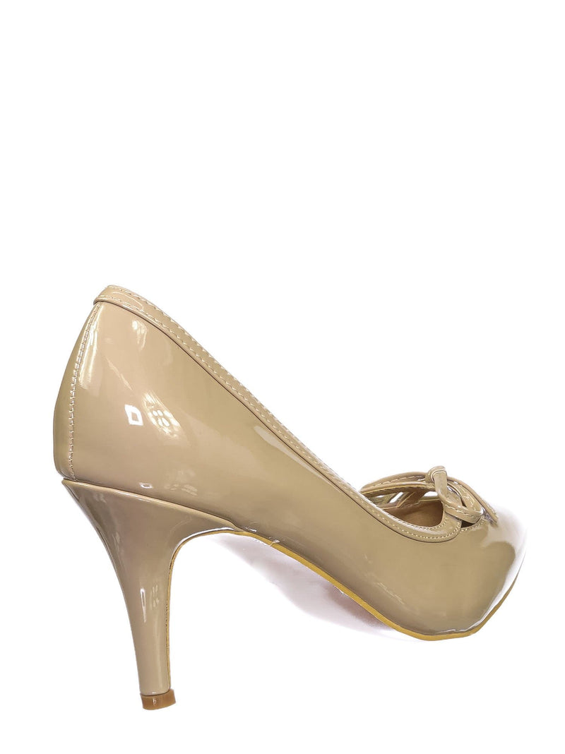 Beige Tan / Sanzi7 Classic Stiletto High Heel Dress Pump - Womens Cut Out Pointed Toe Shoe