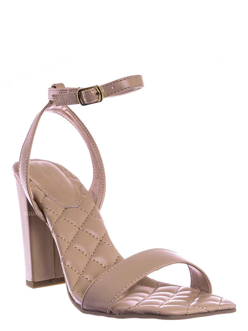 Nud Beige / Pita48 Matelassé Quilted Chunky Heel Sandal - Women Adjustable Ankle Strap Shoes