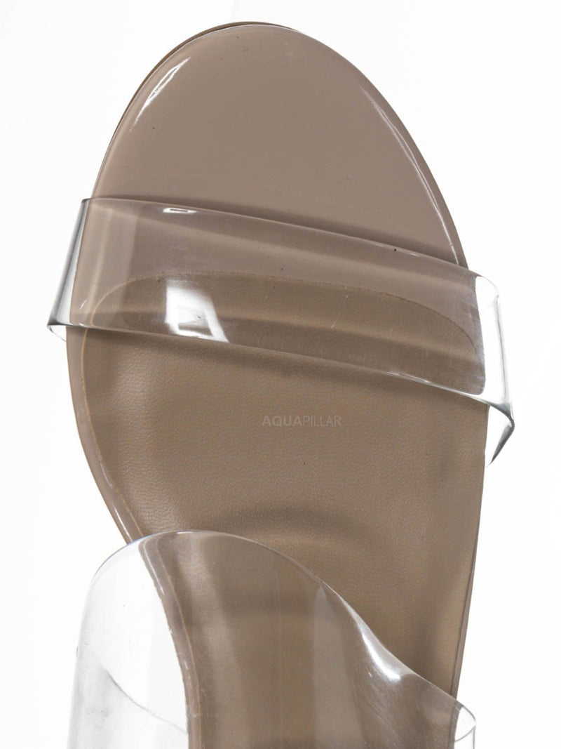 Beige Clear / Soap Transparent Block Heel Mule - 90s Retro Lucite Clear Twin Strap Slides