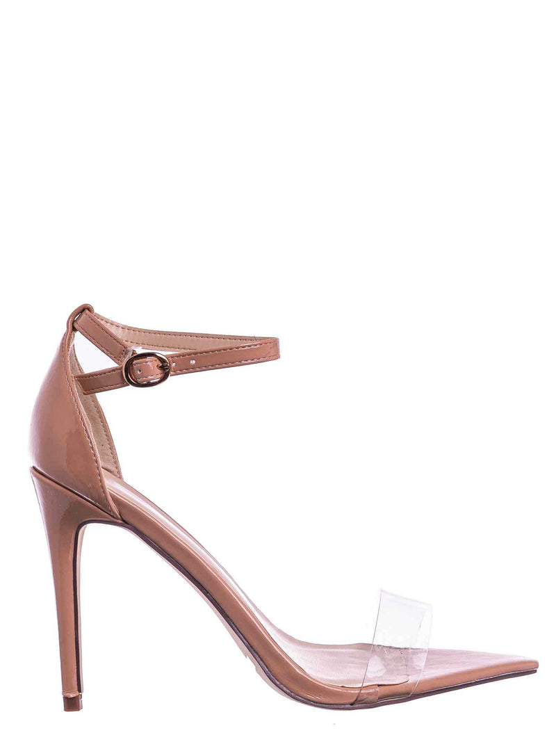 Nud Beige / Exception10 Lucite Neon Stiletto Sandal - Women Clear High Heel Pointed Toe Shoe