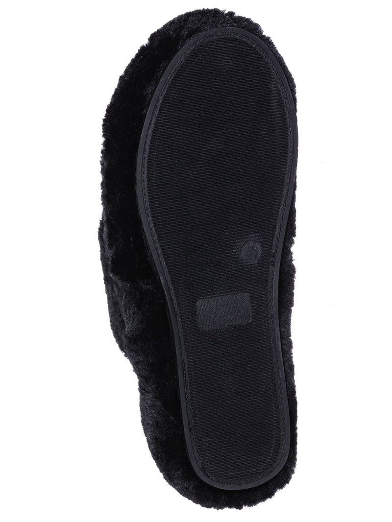 Black / Warmness05 Fluffy Faux Rabbit Fur Sandal - Flatform Thong Flip Flop Slipper