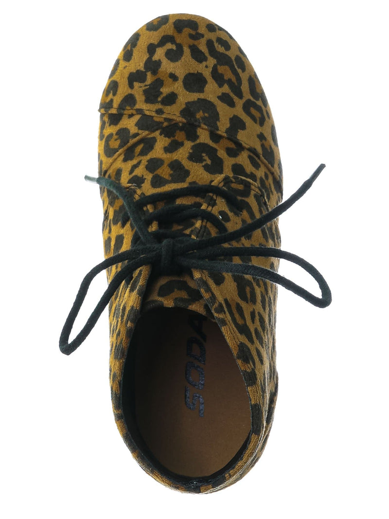 Rex Tan Cheetah Hidden Wedge Heel Bootie - Women Lace Up Oxford Ankle Boots