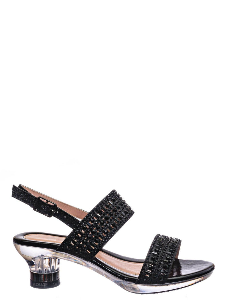 Black Glitter / Nora1 Girls Rhinestone Crystal Sandal - Childrens Open Toe Glass Heel Dress Shoe