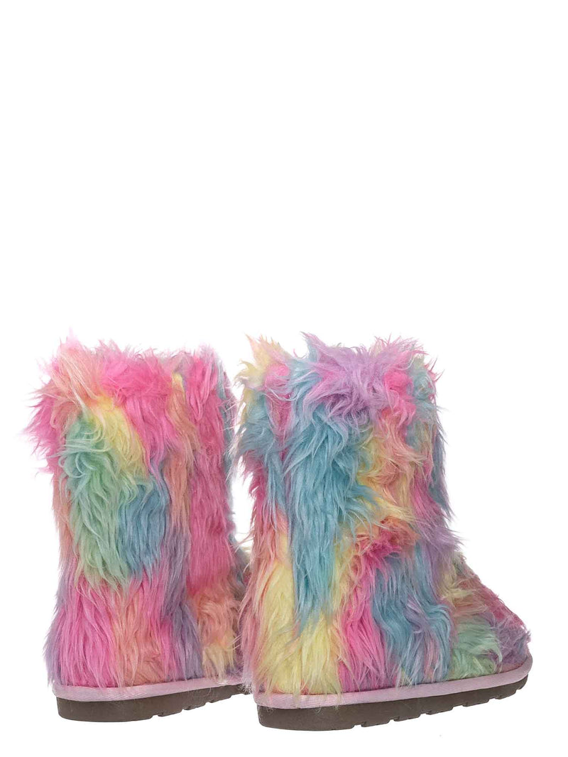 11 Long Multi FurMulti / Alice Colorful Faux Fur Mukluks - Rainbow Winter Fluffy Slipper Boots
