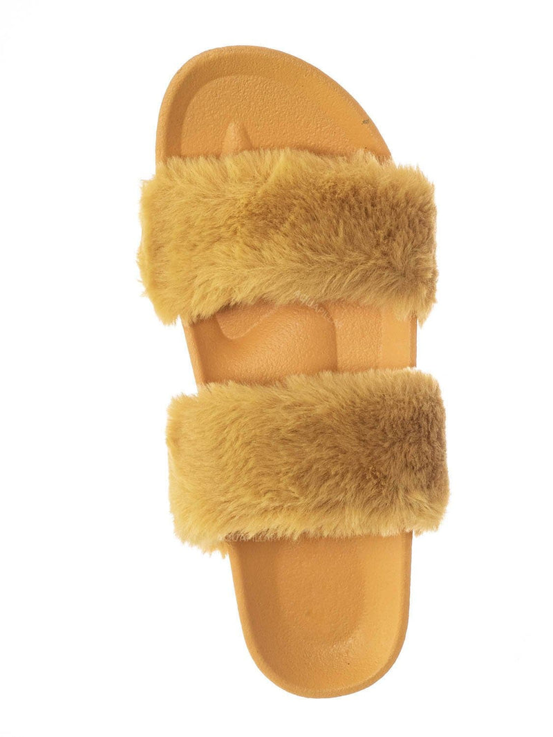 Mango Yellow / Nighttime03 Furry Rhinestone Flatform - Flat Platform Molded Footbed Slipper