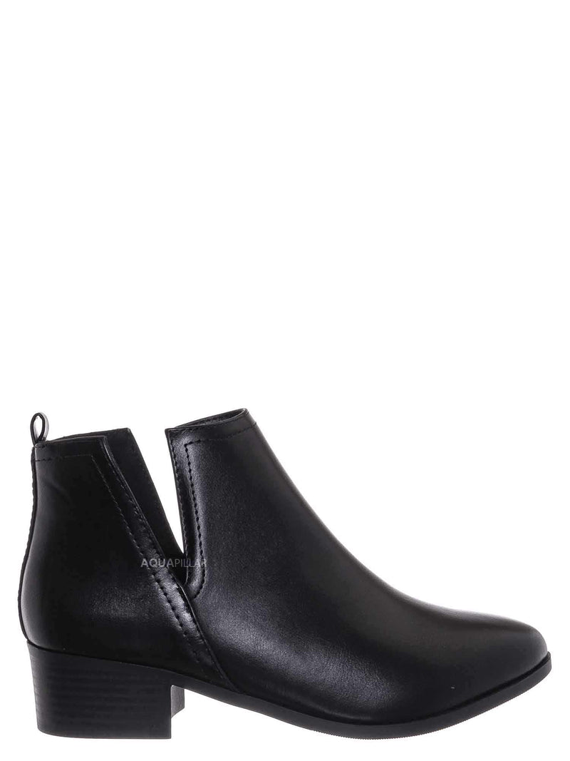 Black Pu / Rapid Slip On Cut Out Bootie - Western Chelsea Split Shaft Ankle Boot