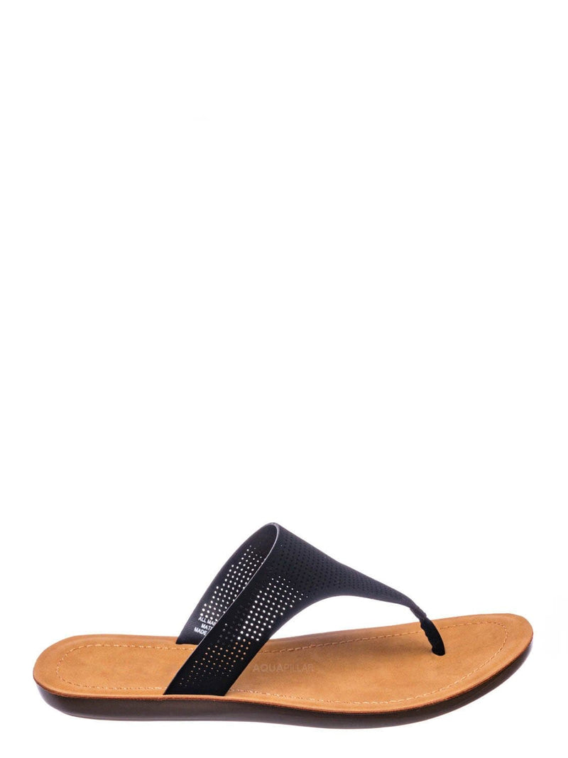 Black Nubuck / Mikayla Perforated Footbed Thong Sandals - Womens Light Weight Yoga Slides