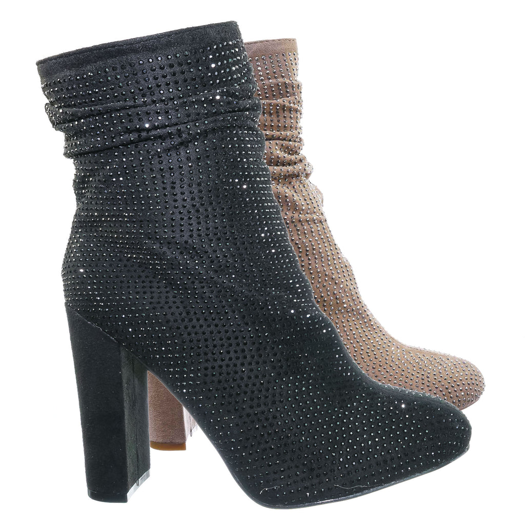 Diamond8 Rhinestone Crystal Ankle Bootie - Womens Party Chunky Block High Heel