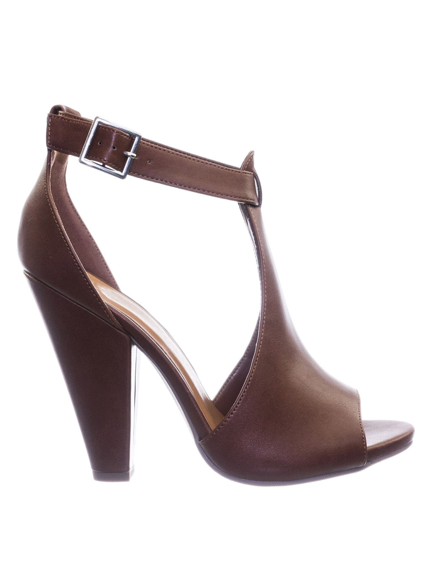 Speakup CogPu Taper Block Heel Peep Toe Double Open Shank d'Orsay Pump w Ankle Strap