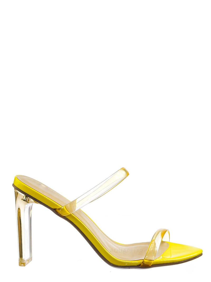 Yellow / Linger Lucite Transparent Acrylic Heel Sandal - Womens Clear Double Strap Shoes