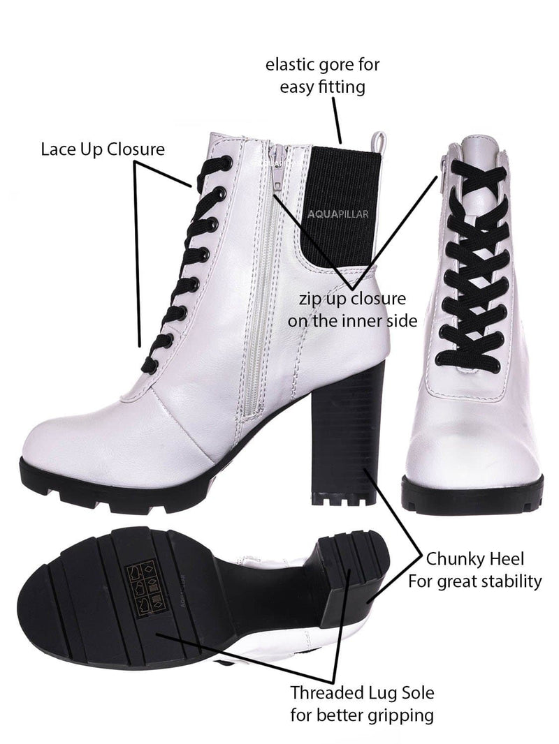 White Crp / Pilate09 Block Heel Combat Bootie - Lug Sole Lace Up Goth Victorian Ankle Boots