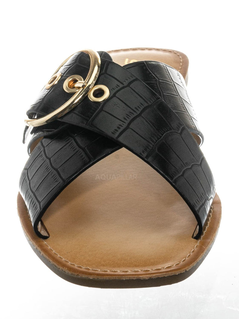 Black Croco / Oregan Vintage Croco Slide In Slipper - Women Slipper Cross Strap Sandal