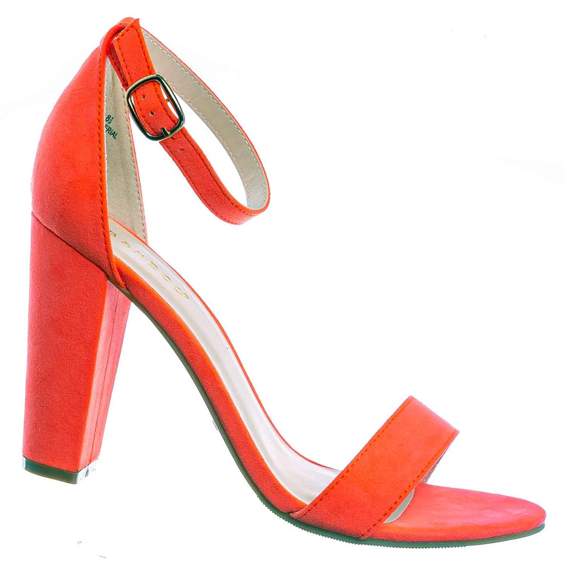 Neon Orange / Mania03 Chunky Block High Heel Sandal - Open Toe Retro Ankle Strap Dress Shoes