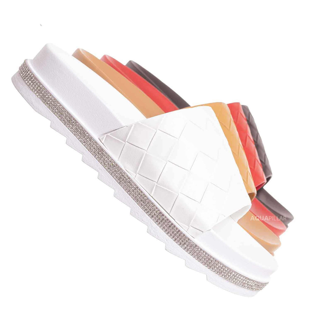 White / Great12 Rhinestone Woven Flatform Sandal - Women Platform Slides