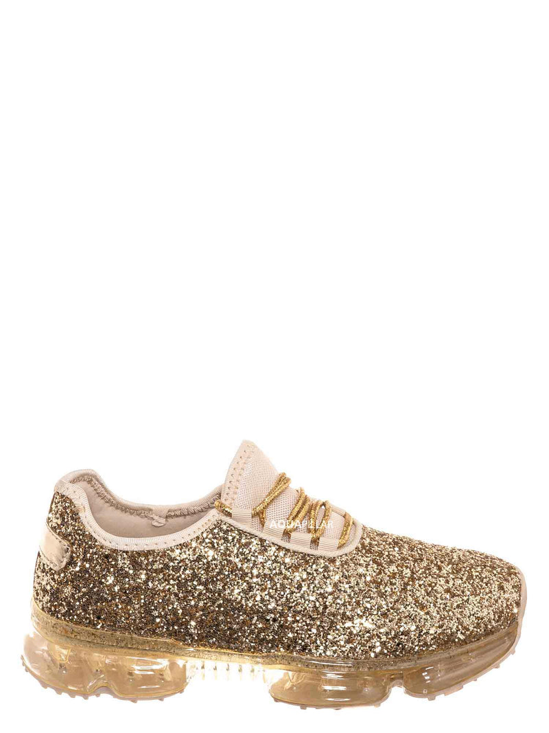 Gold / Flow28 Glitter Sneaker w Lucite Clear Outsole