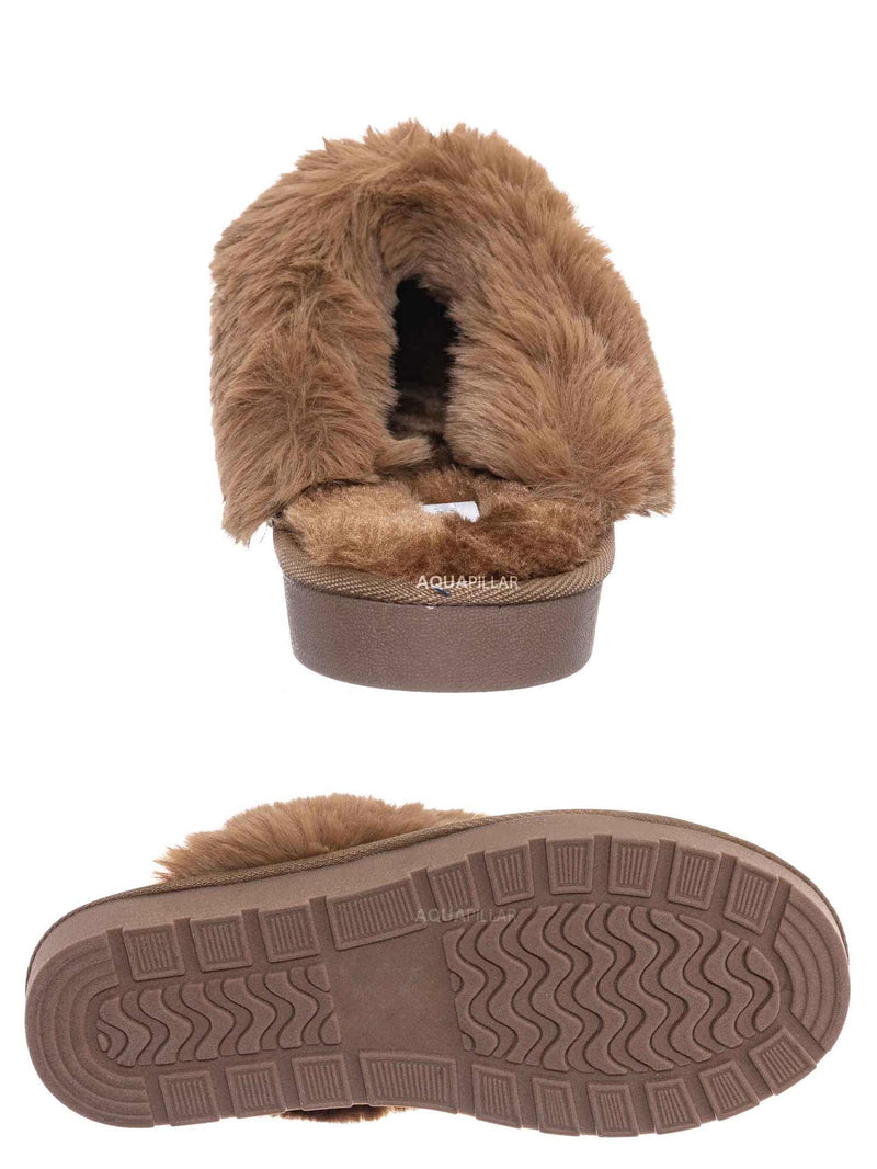 Cheetah / Snuggle01 Winter Cozy House Slipper - Vegan Friendly Faux Fur Slip On Mule