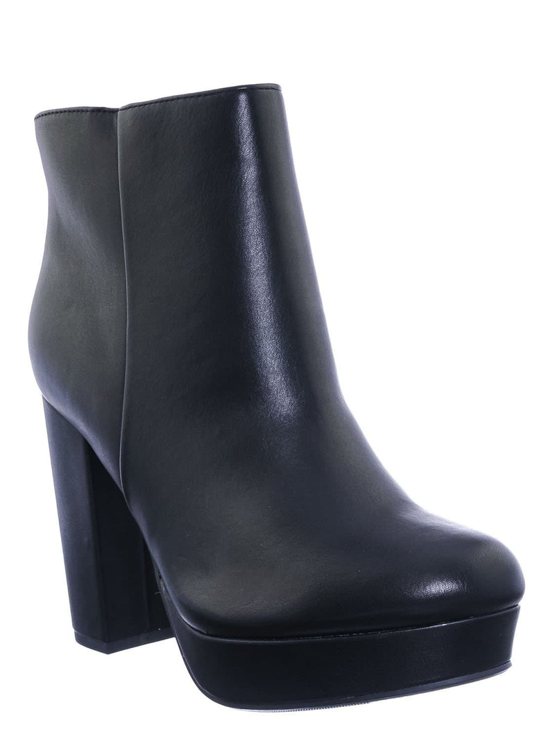 Pu Black / Meeting Chunky Block Heel Platform Dress Bootie - Women Round Toe Dress Shoe