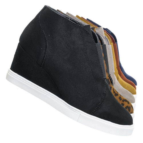 Vesper Black Isu Hidden Wedge Heel Sneakers - Women Sporty Elastic Shootie