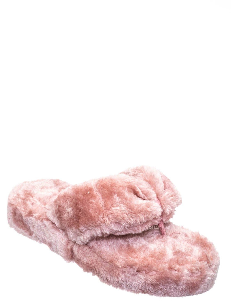 Blush Pink / Warmness05 Fluffy Faux Rabbit Fur Sandal - Flatform Thong Flip Flop Slipper