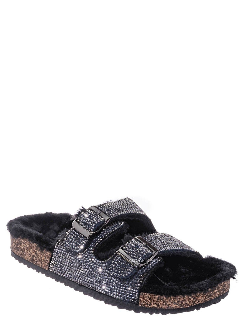 Black / Benefit31 Fur Lined Footbed Slides